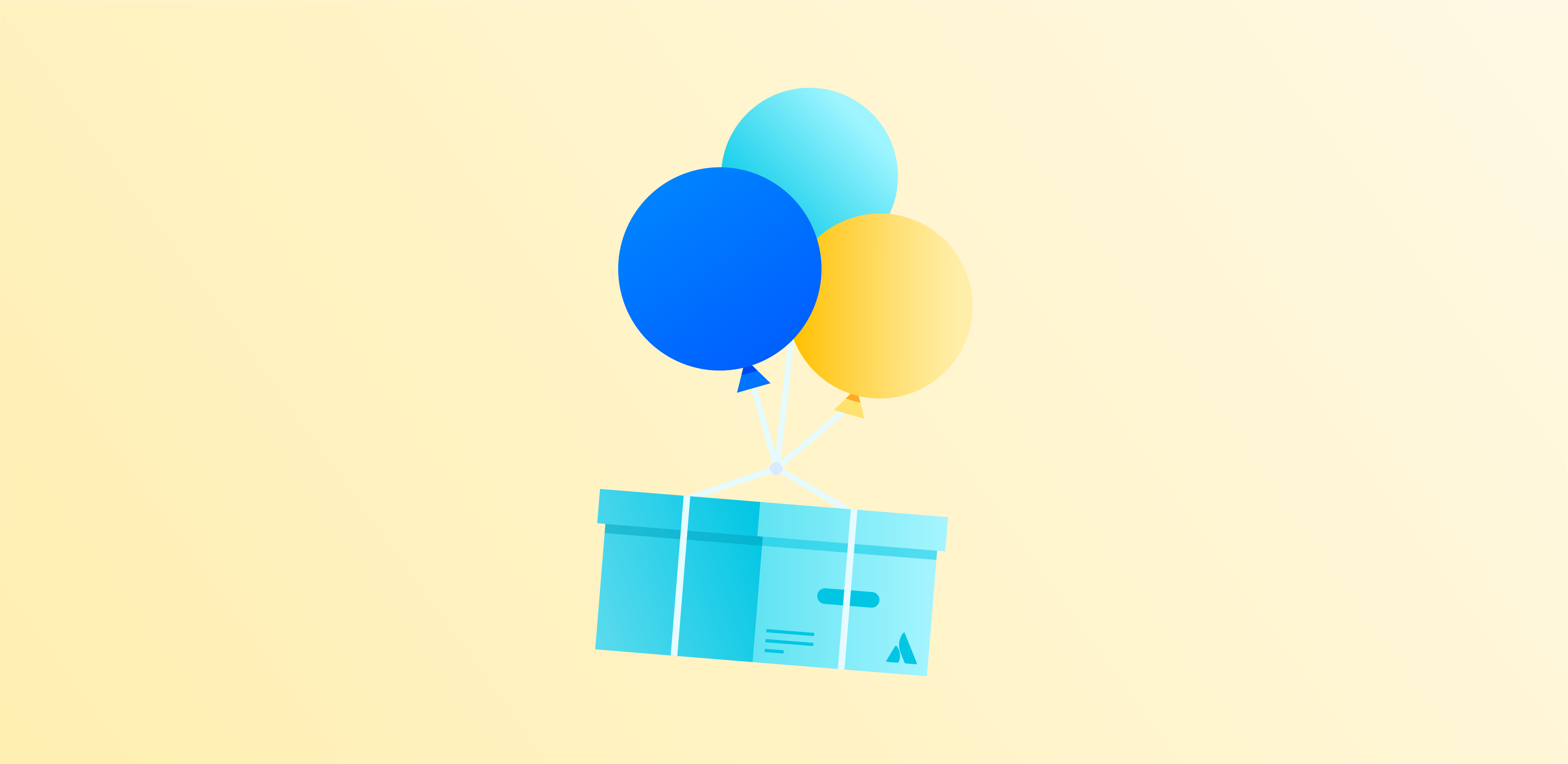 Balloons carrying a crate