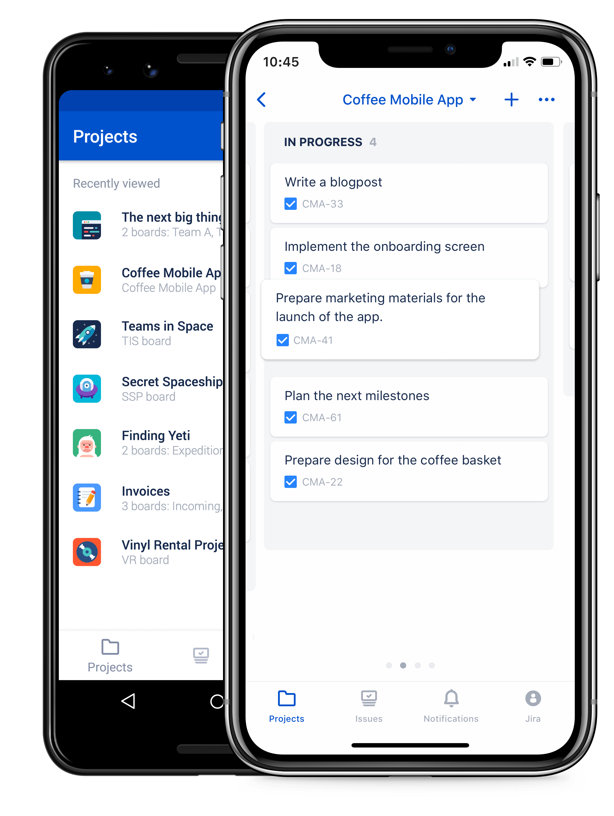 Jira Server Mobile product screenshot on mobile device, showing list of projects