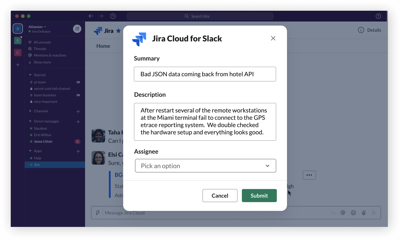 Create Jira software cloud issues in Slack