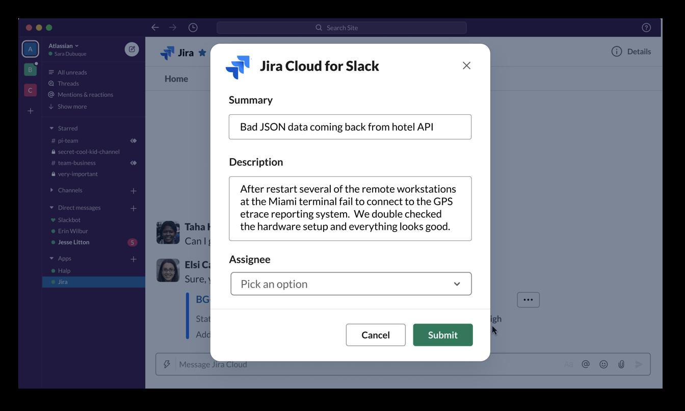 Crea incidencias de Jira Software Cloud en Slack