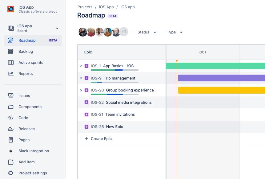 Screenshot van Roadmaps