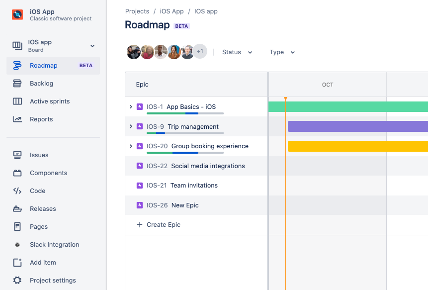 Screenshot: Roadmap