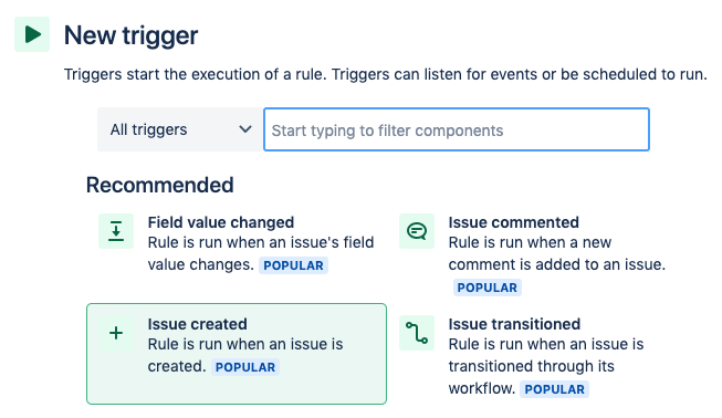 Find the Issue created trigger from the list of triggers