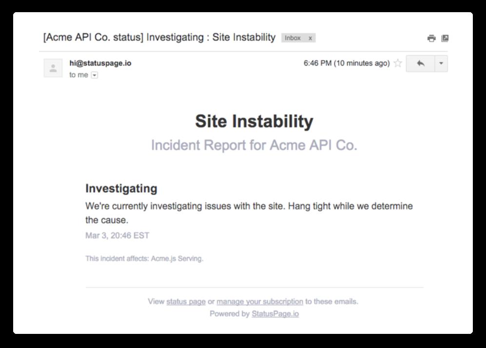 Screenshot di e-mail di notifica