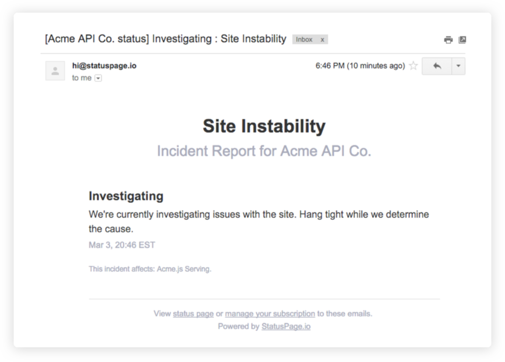 Screenshot: E-Mail-Benachrichtigung