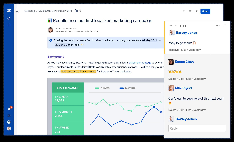 Zrzut ekranu strony Confluence z powiększeniem obszaru komentarzy