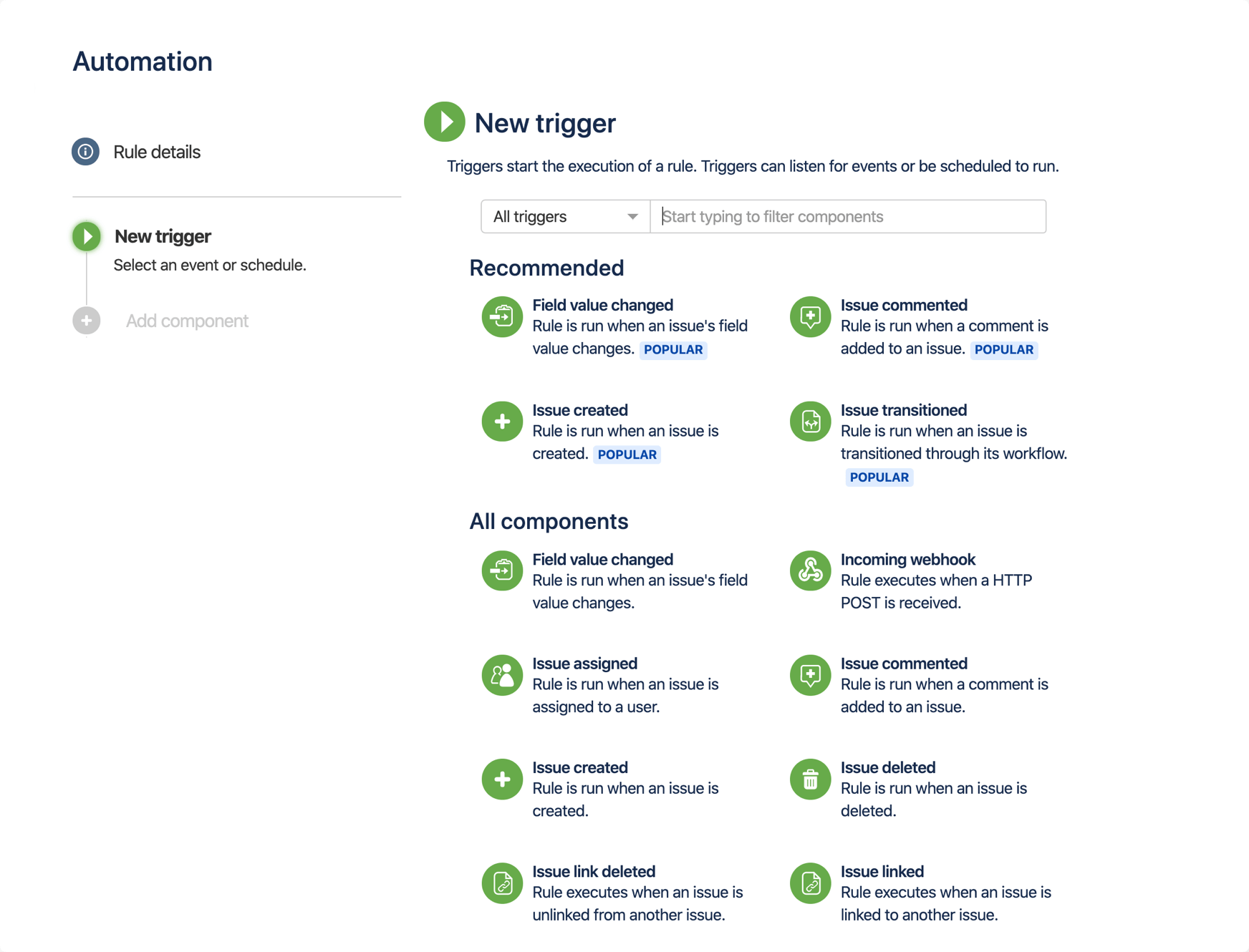 Jira Automation のスクリーンショット