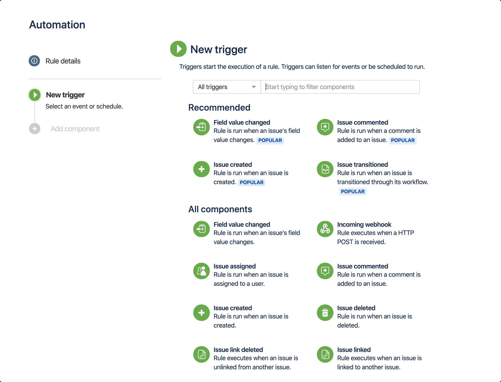Снимок экрана: Jira Automation