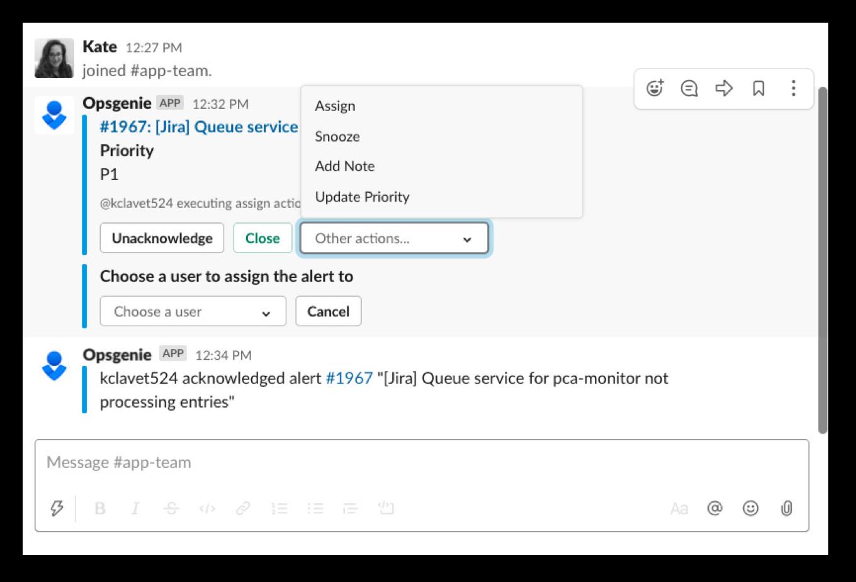 Действия, выполняемые через Slack