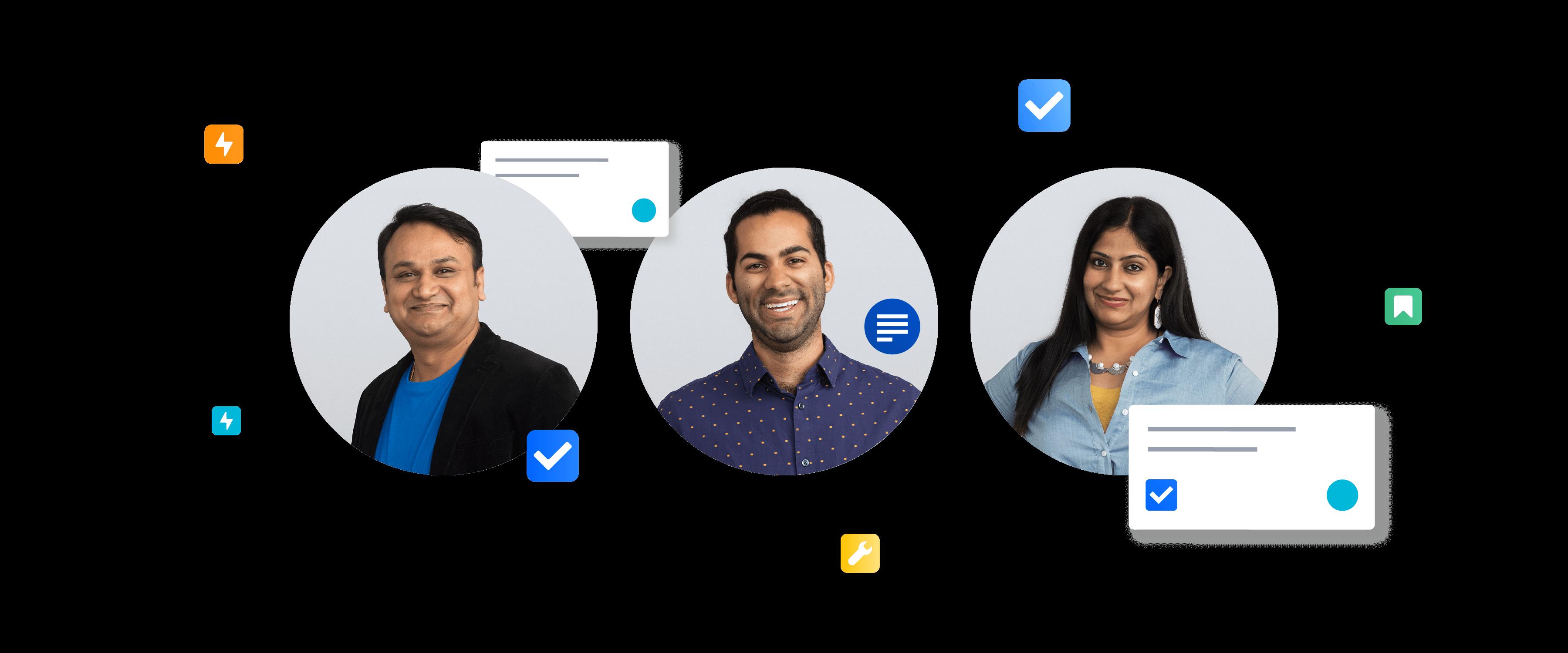 Image of three Walmart Labs employees
