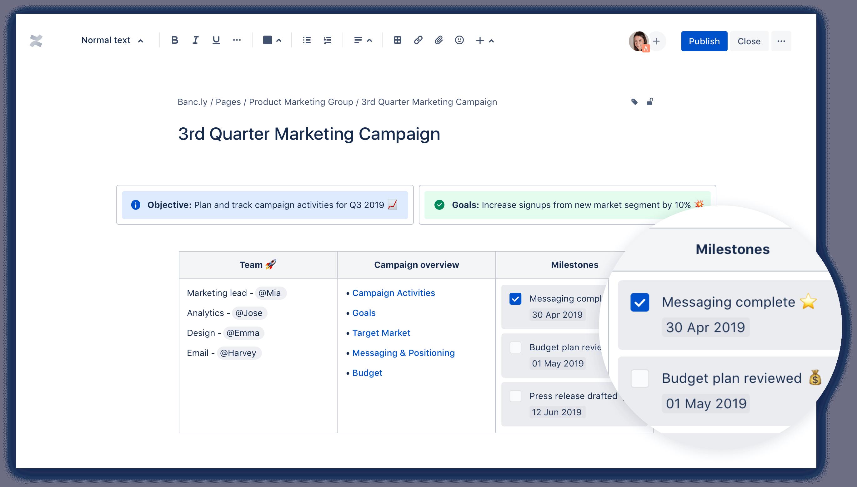 Screenshot van een Confluence-pagina waarbij is ingezoomd op de mijlpalen