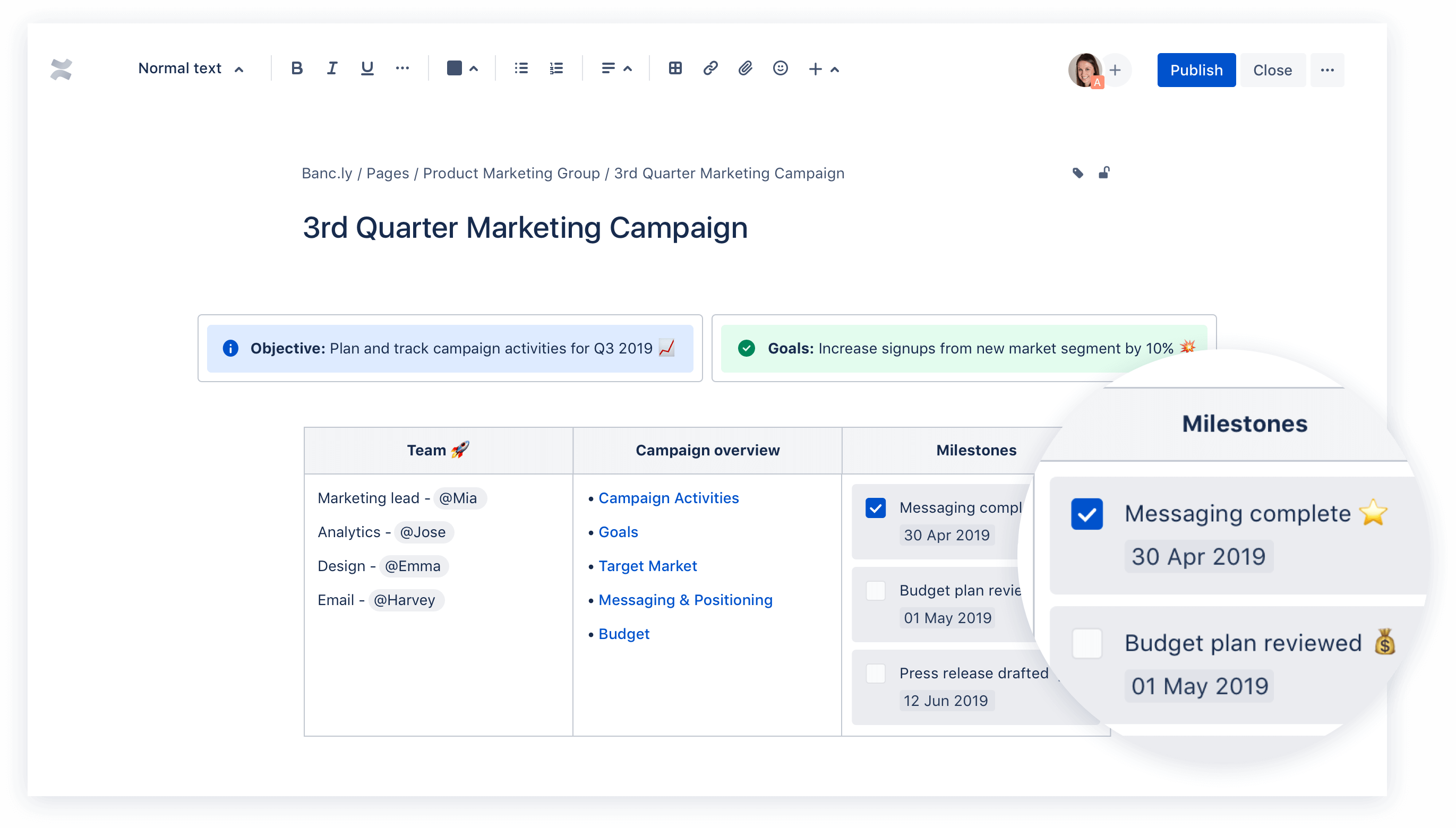 Screenshot of a Confluence page zooming in on milestones