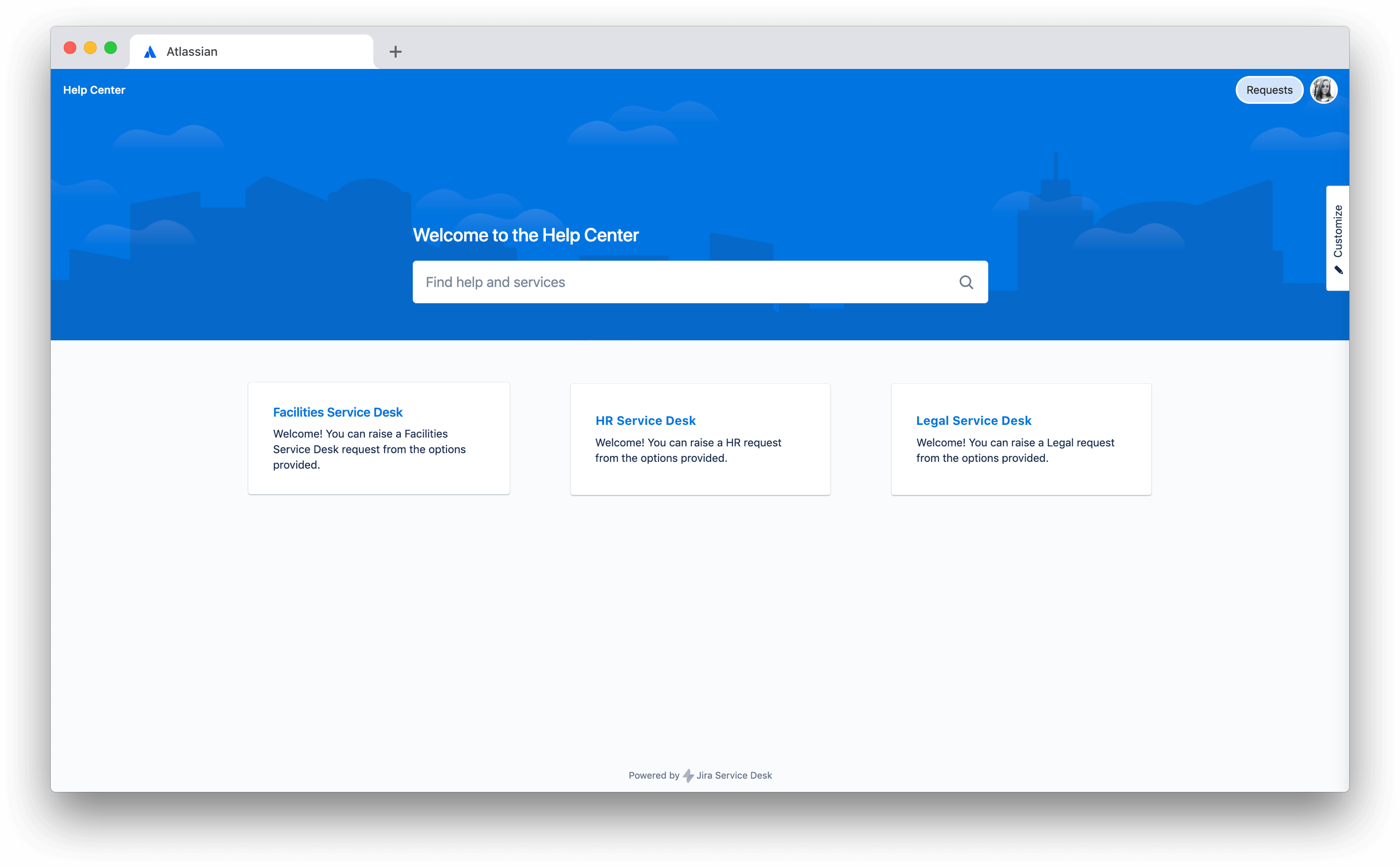 Screen shot of help desk