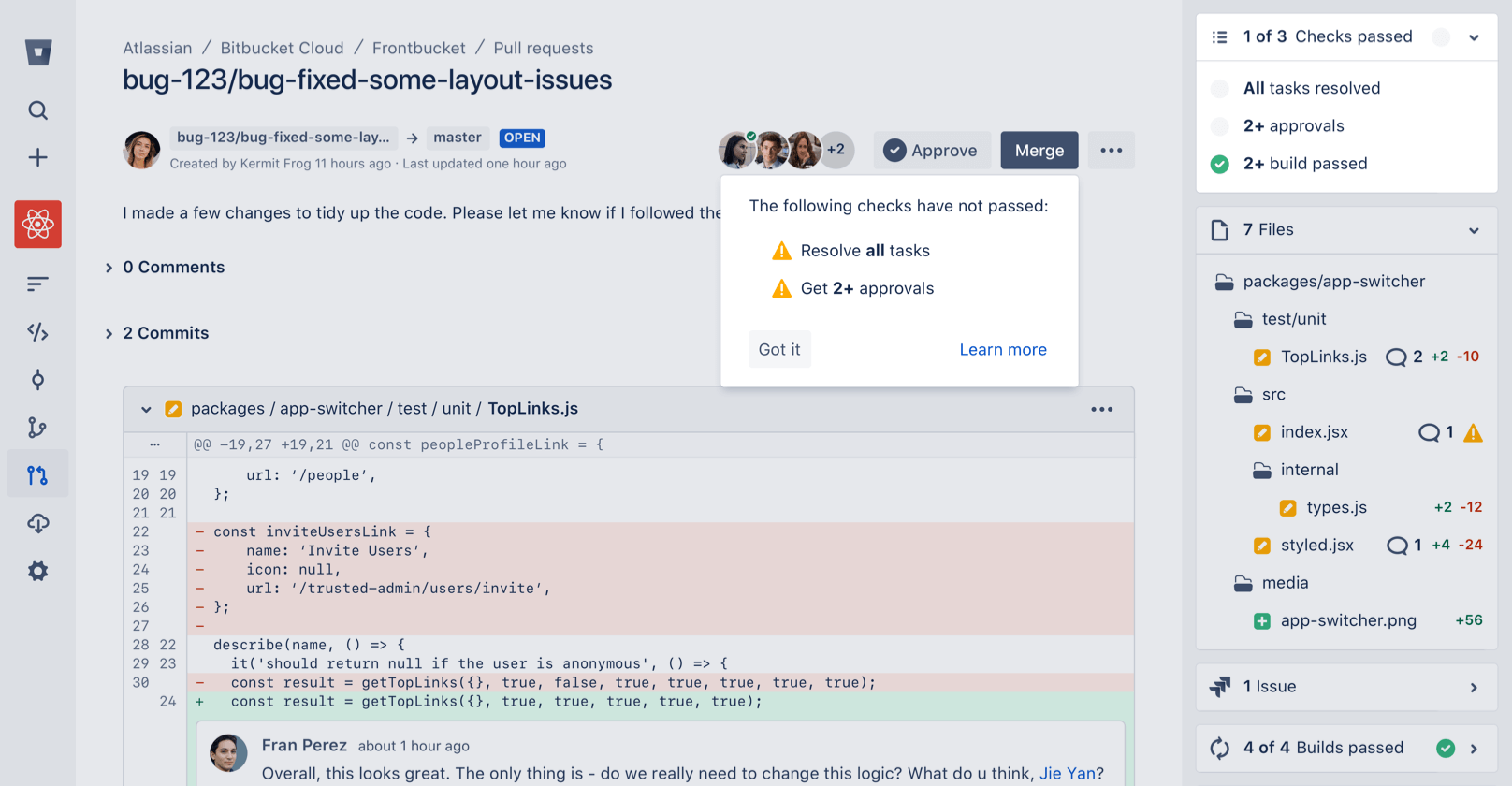 Enforced merge checks on Bitbucket
