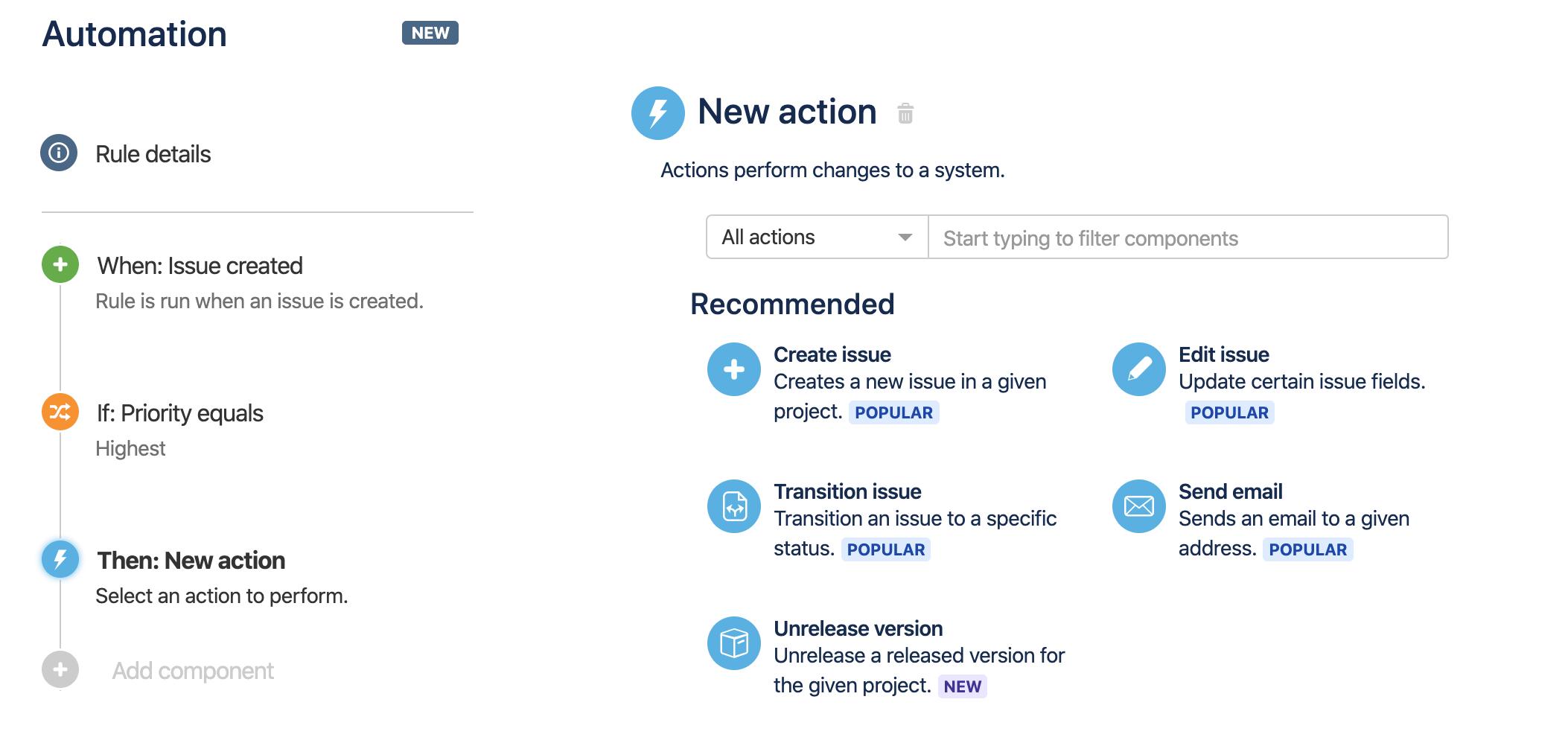A lista de ações disponíveis ao criar uma regra.