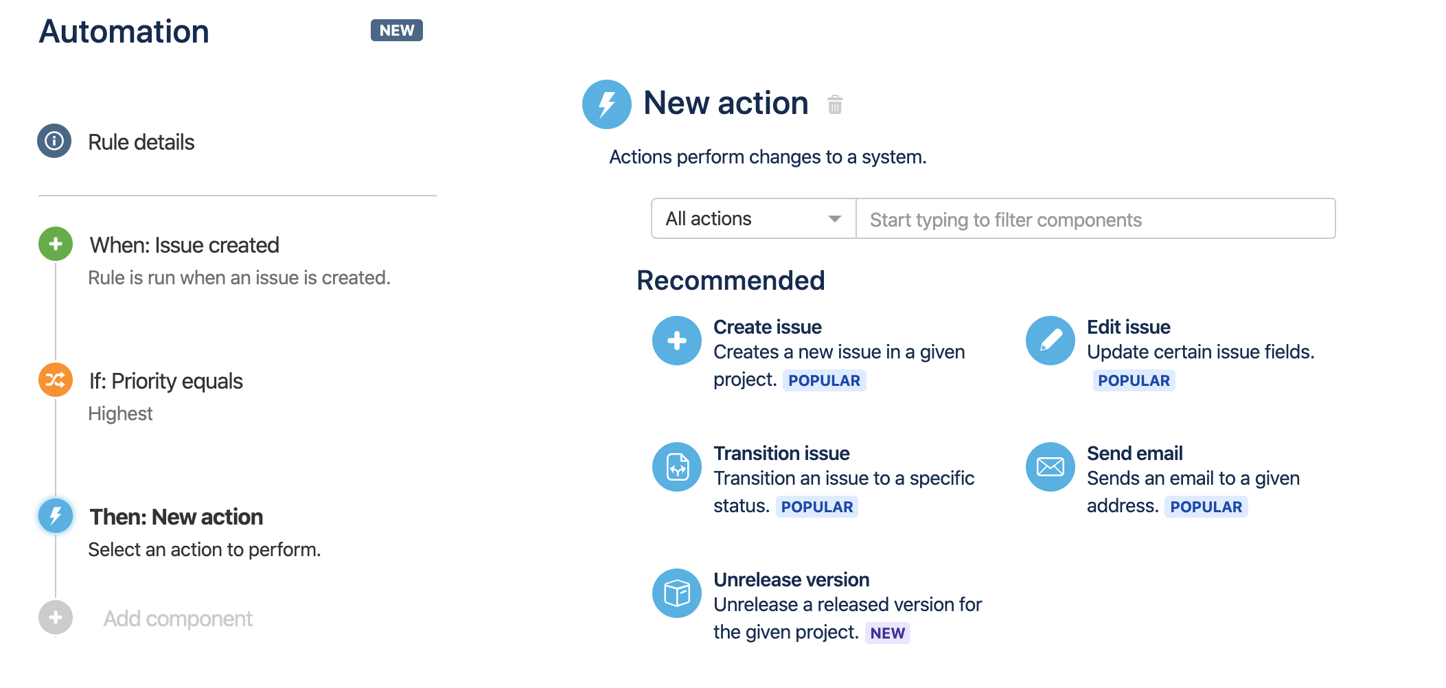 The list of actions available when creating a rule.