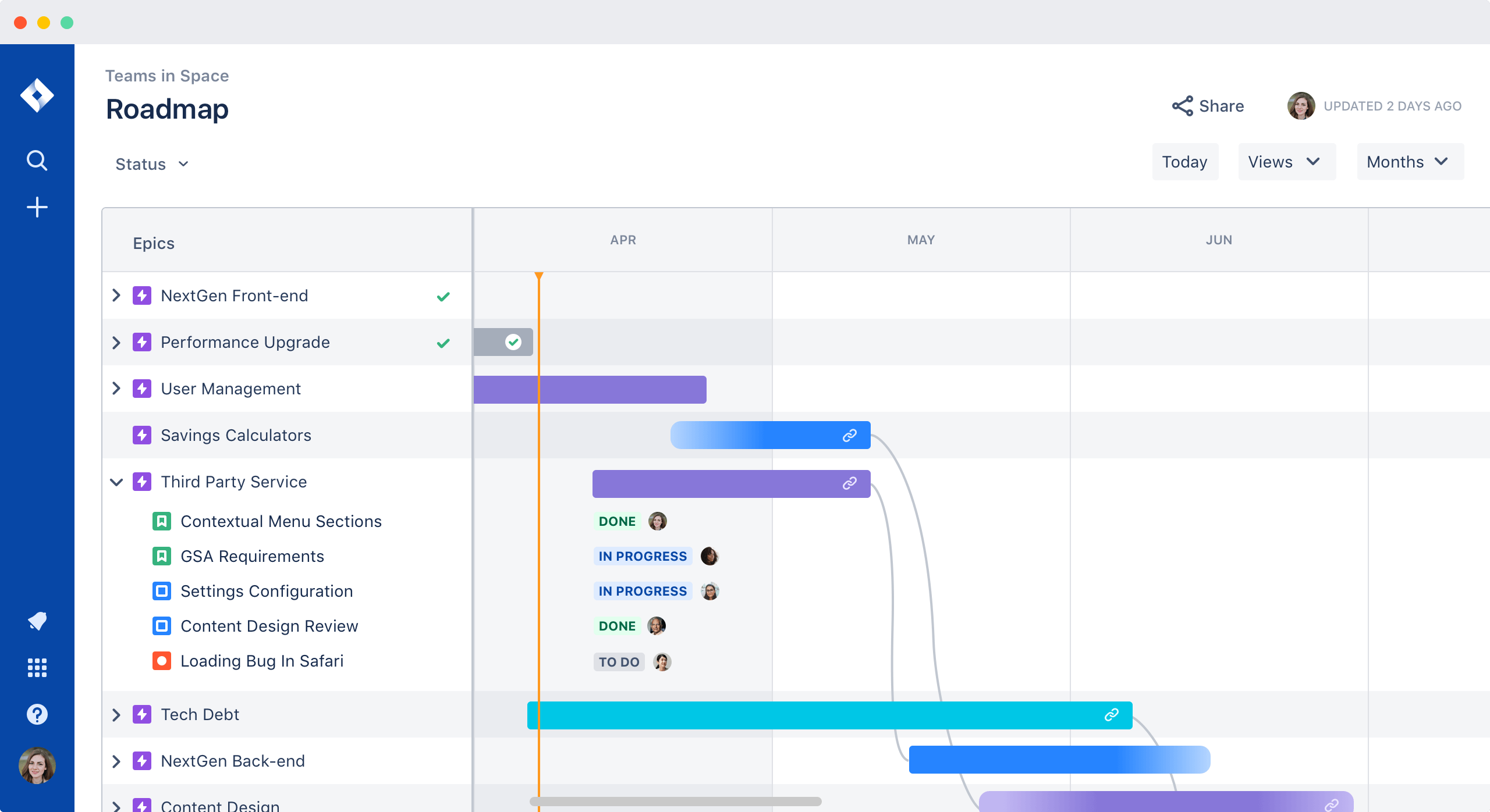 Captura de pantalla de hojas de ruta
