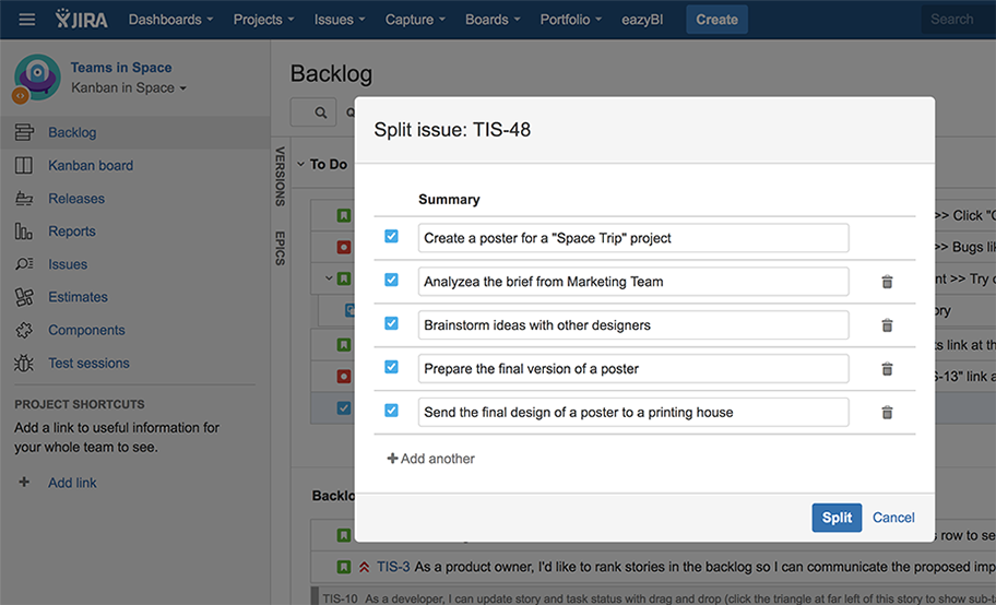 Split-up issue pop-up that allows splitting issue into separate tasks