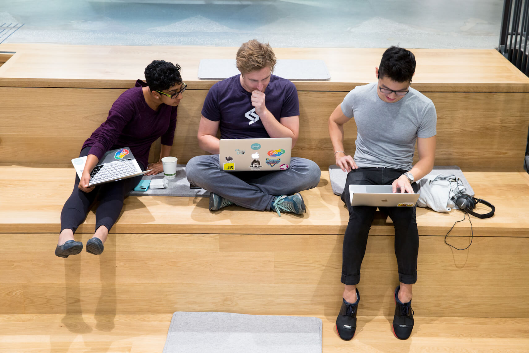 Blend employees working on their laptops