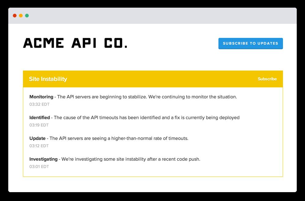 Aktualizacje strony — zrzut ekranu