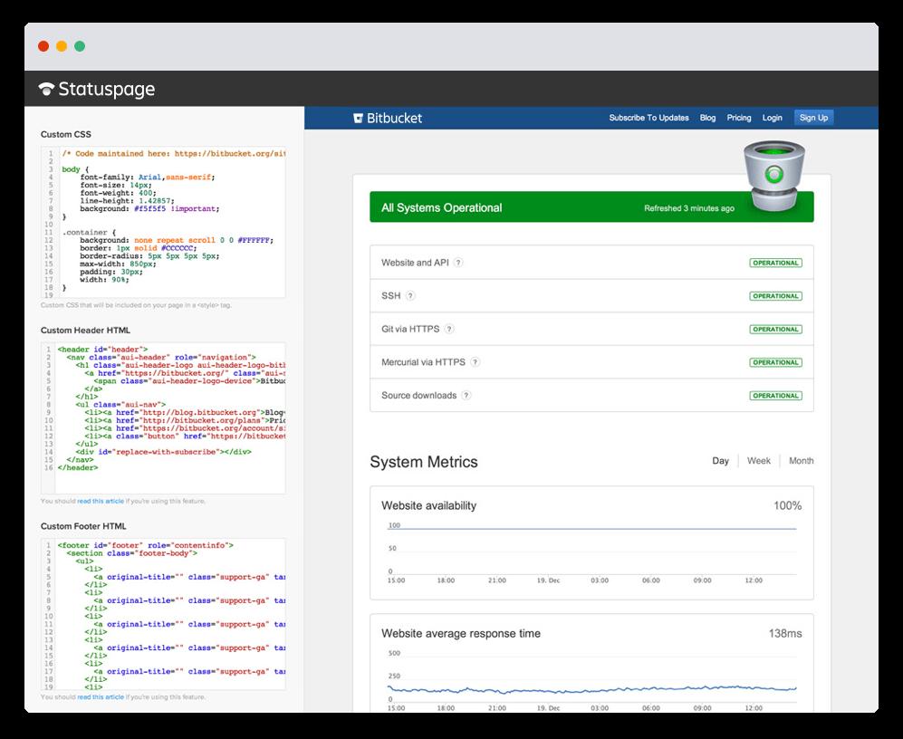 Niestandardowy kod CSS na stronie Statuspage — zrzut ekranu