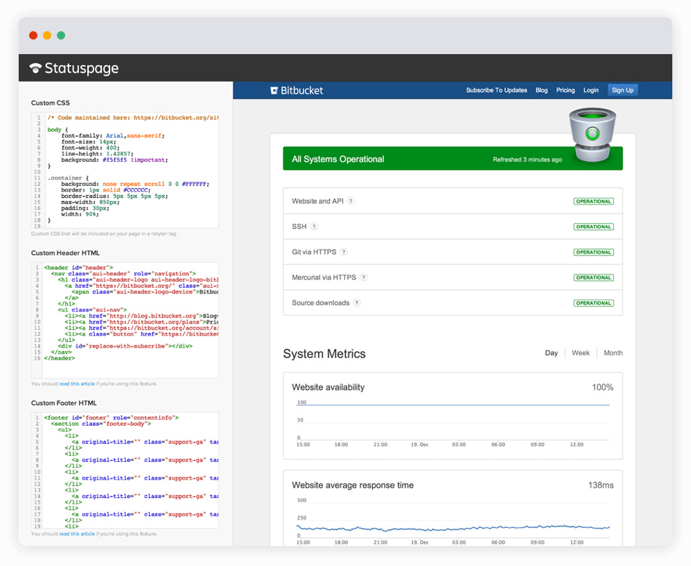 Statuspage의 사용자 지정 CSS 스크린샷