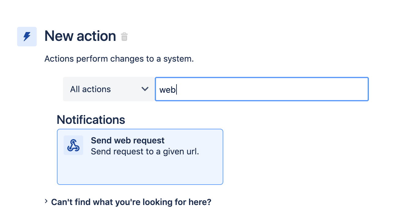 New action. Select Send web request