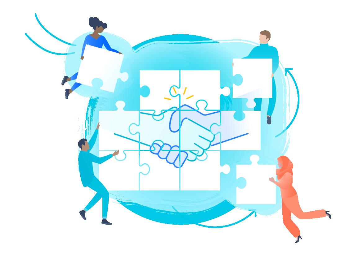 Teile eines Puzzles, auf dem sich zwei Menschen die Hände schütteln