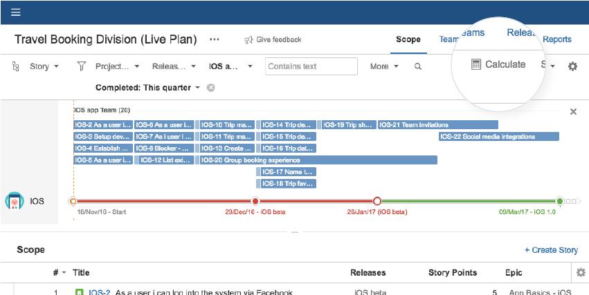 Portfolio for Jira의 예측 로드맵 계산