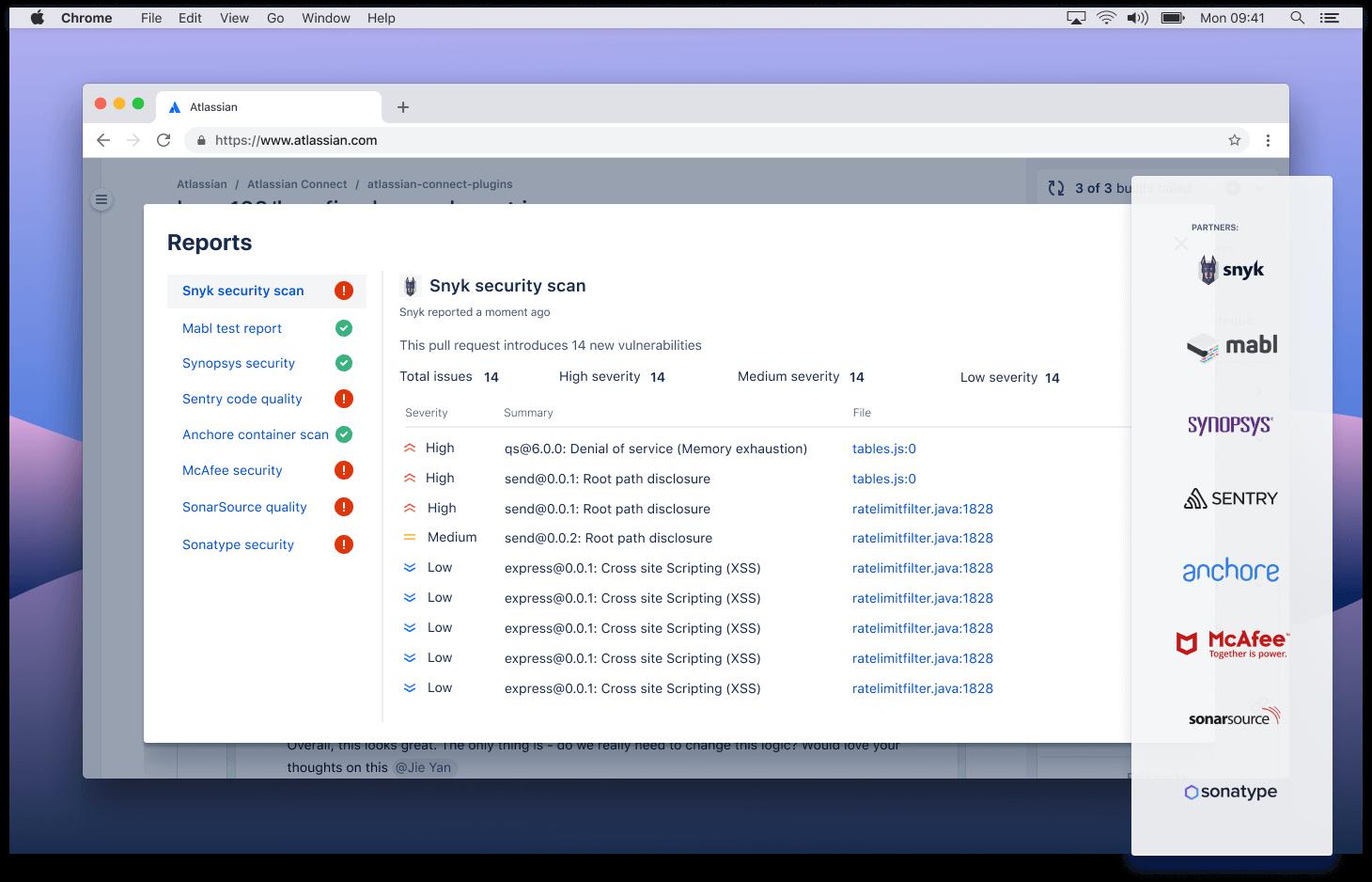 Jelentések képernyőképe