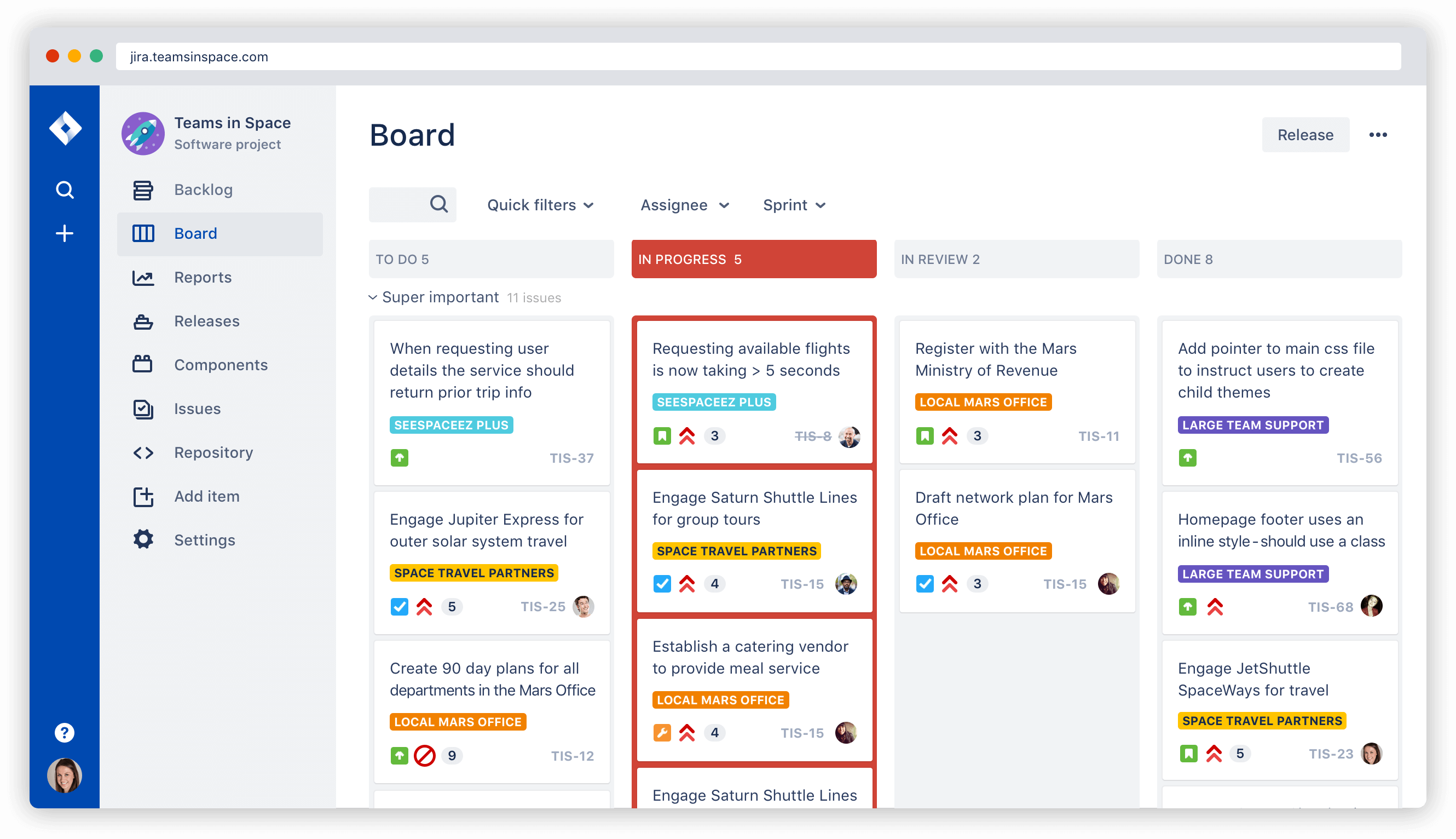 Screenshot: Agiles Kanban-Board in Jira