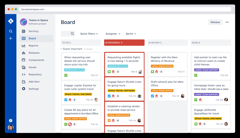 Captura de pantalla del tablero de kanban de Jira Agile