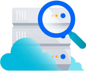 Data Center in clouds with magnify glass