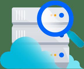 Data center dans les nuages surmonté d'une loupe