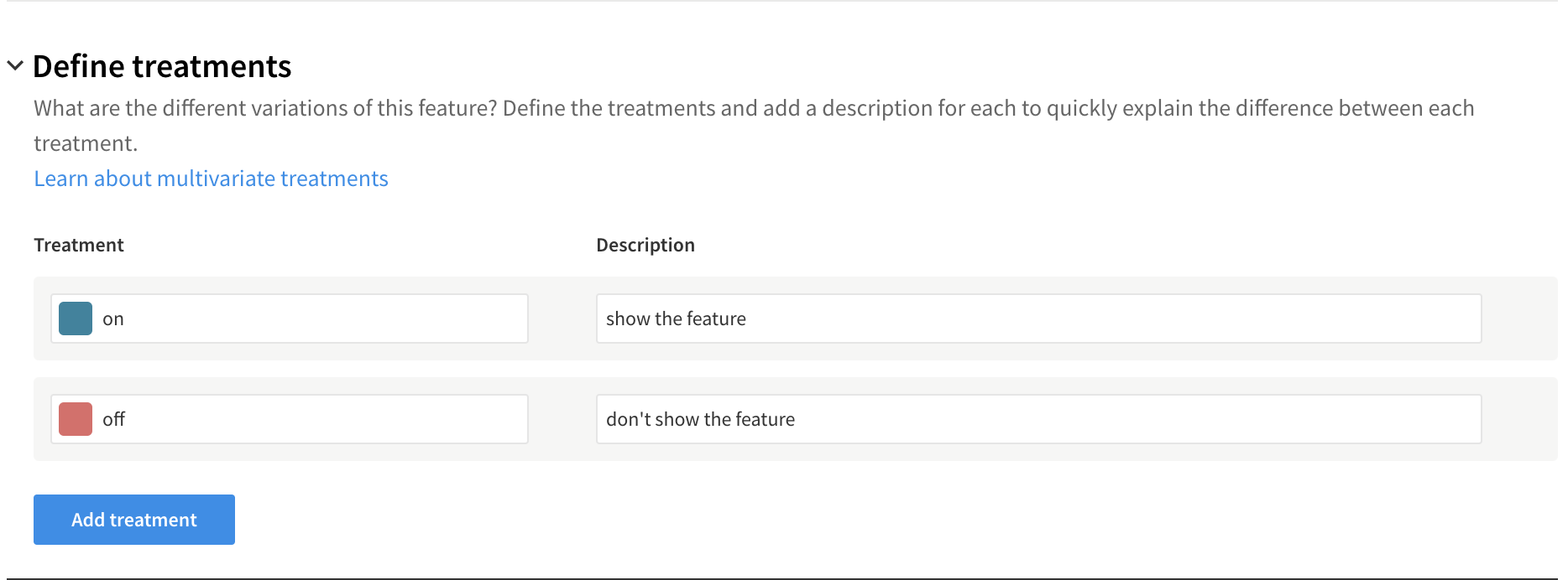 Define treatments
