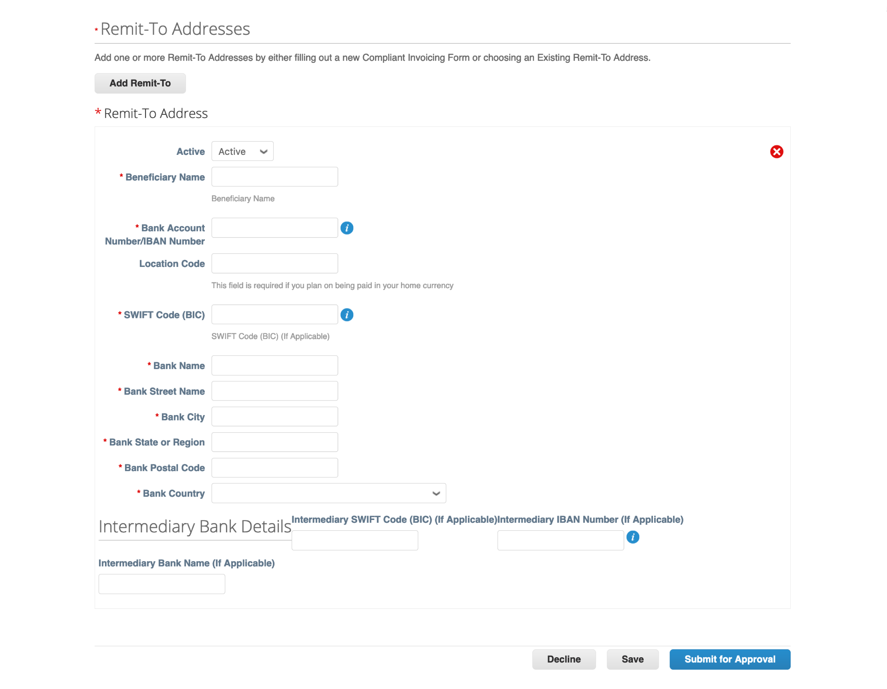 Generic Remit-To Address forms Coupa Supplier