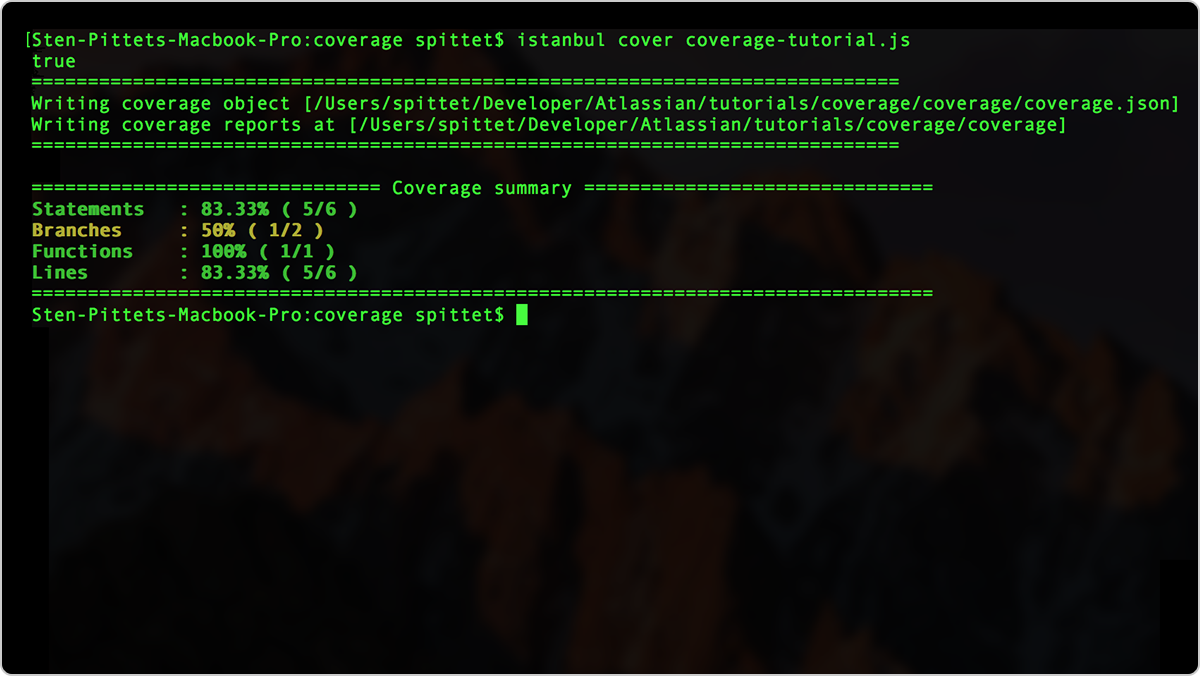 Getting a coverage report in the command line