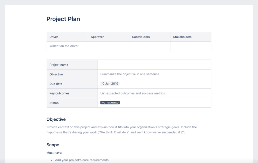 Project plan template