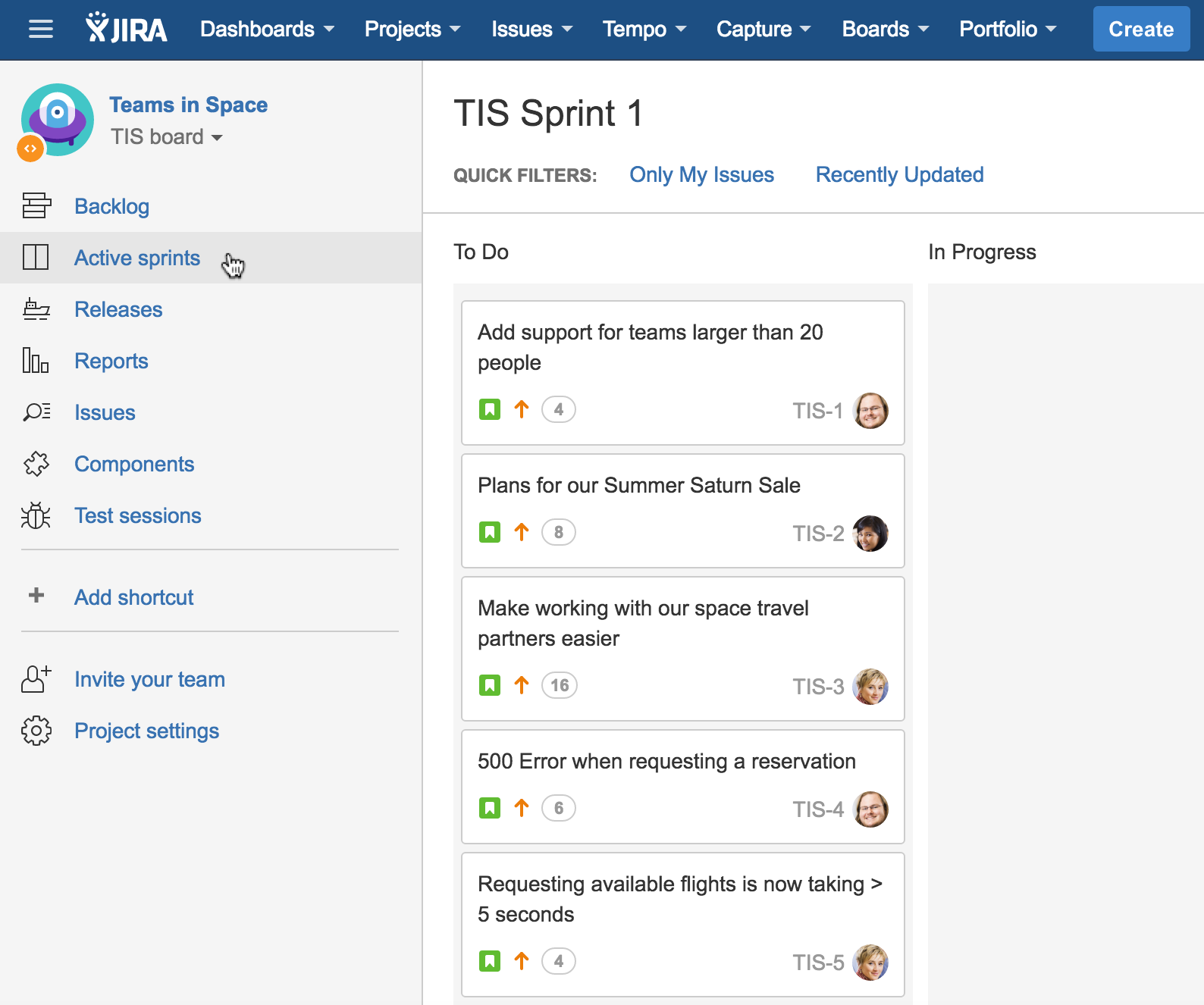Once You Start Your Sprint, You Will Be Taken To The Active Sprints Tab In  The Project