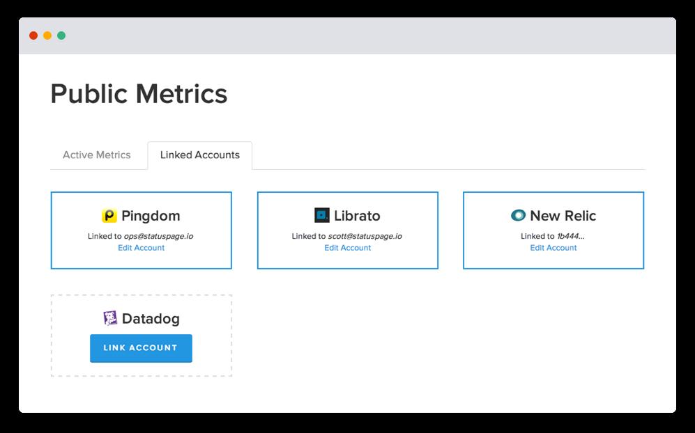 Capture d'écran de comptes liés