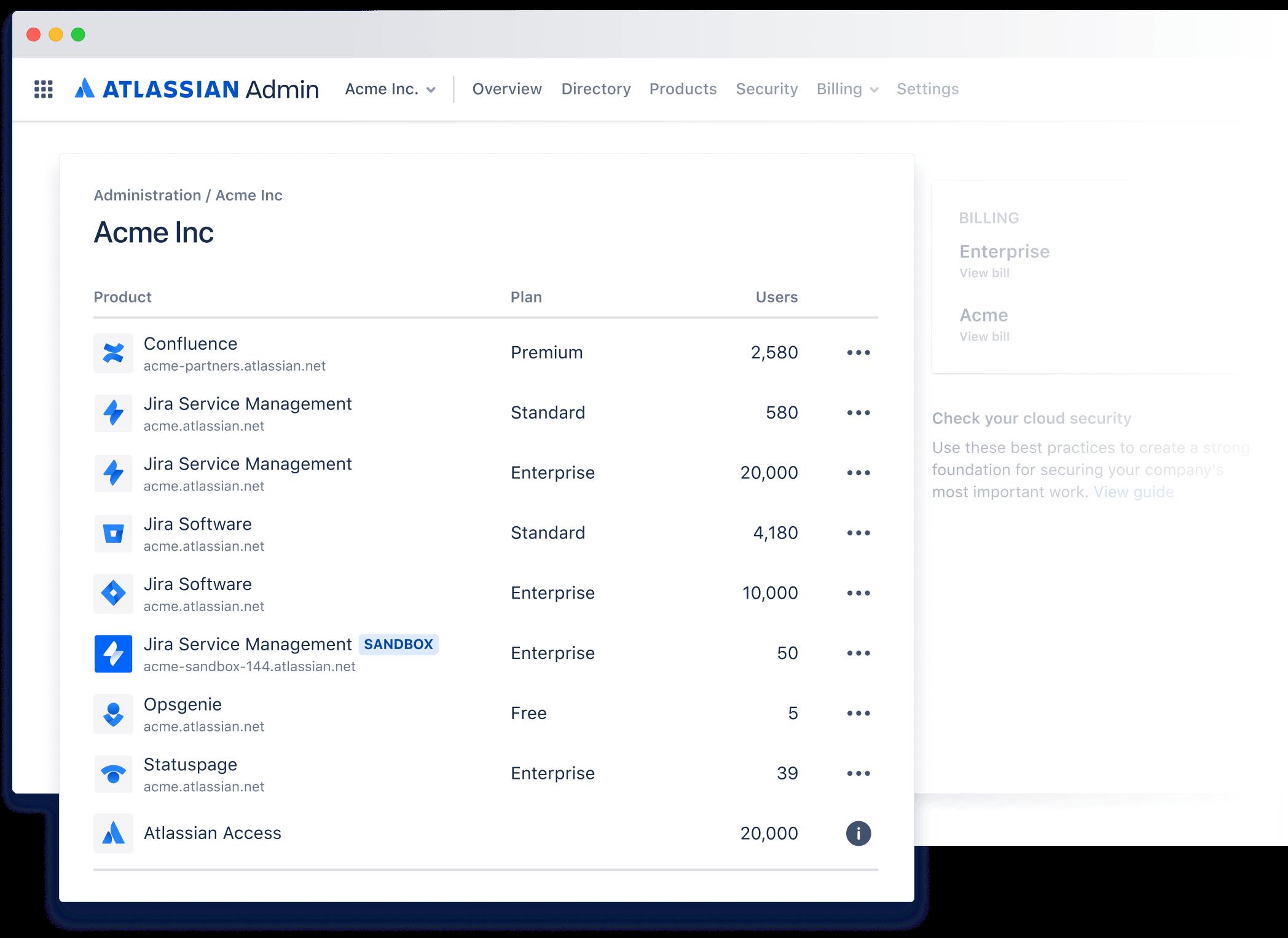 Captura de pantalla del resumen del administrador