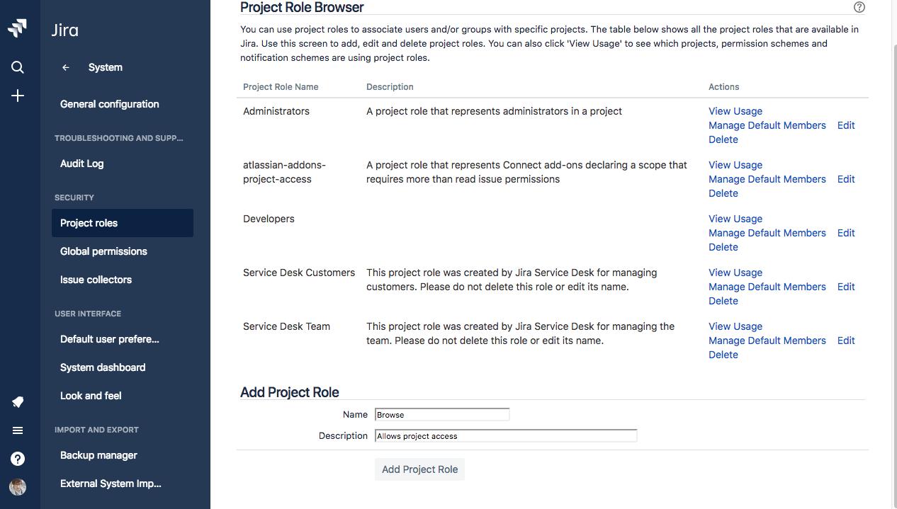 Navegador de função do projeto