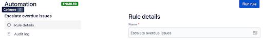Automation rule details