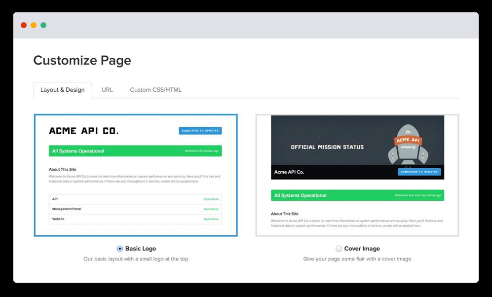 Niestandardowa strona Statuspage — zrzut ekranu