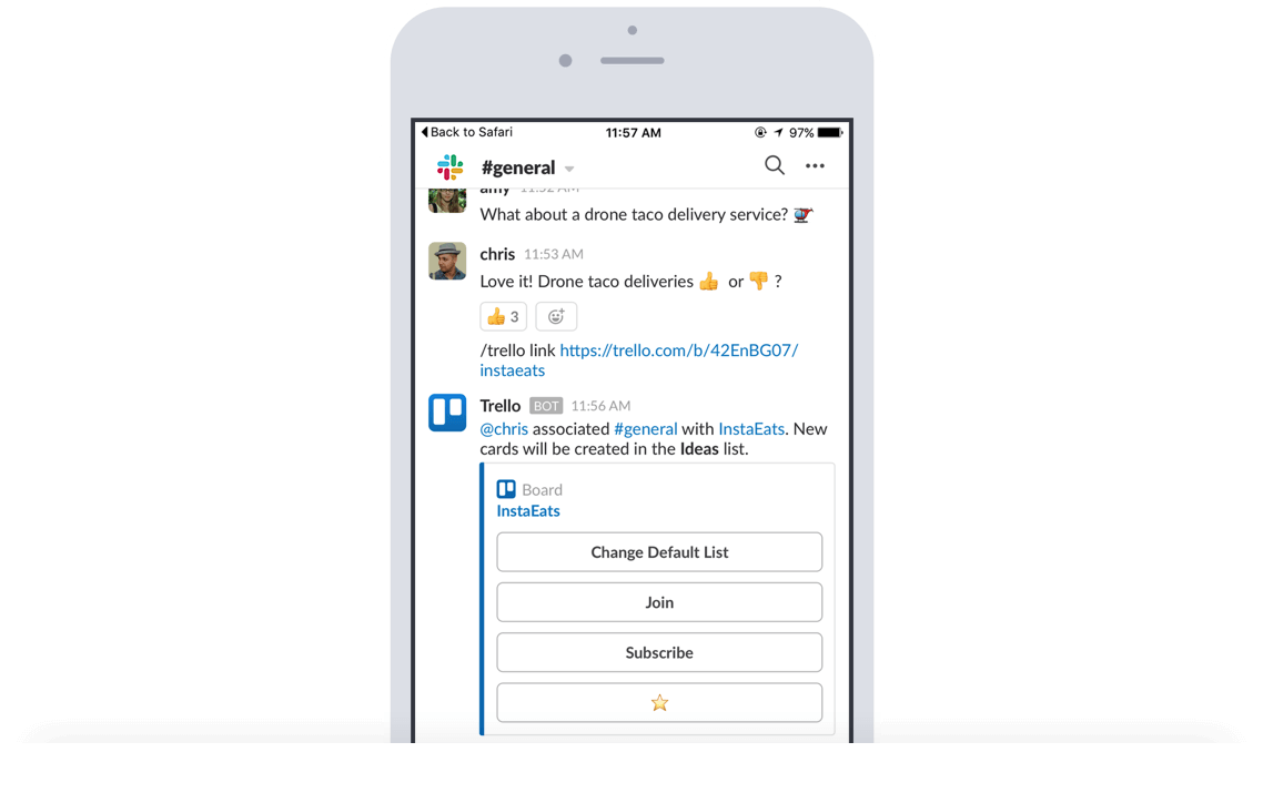 Collez un lienTrello dans un canalSlack pour afficher automatiquement des informations clés, comme les membres, les descriptions, les commentaires et bien plus.