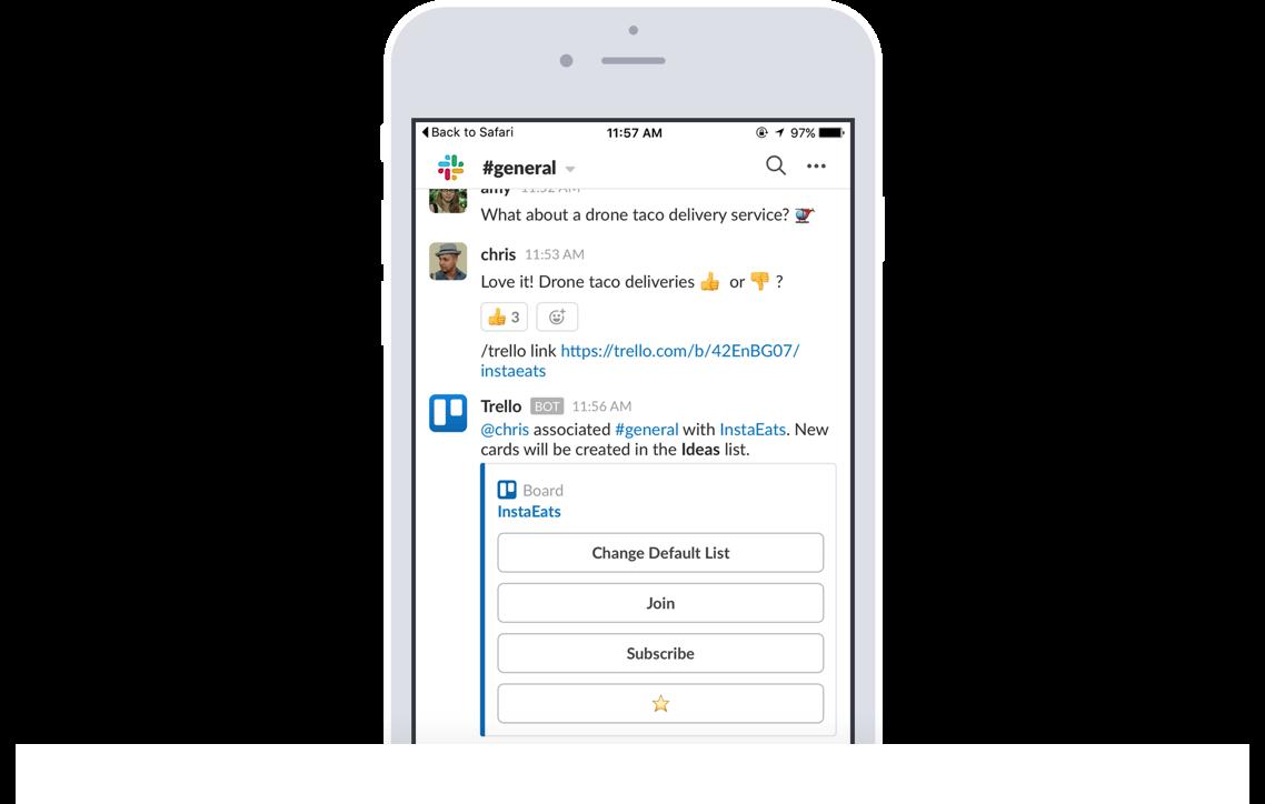 Trello へのリンクを Slack のチャンネルに貼り付けることで、メンバーや説明、コメントなどの重要なインサイトを自動的に表示できます。