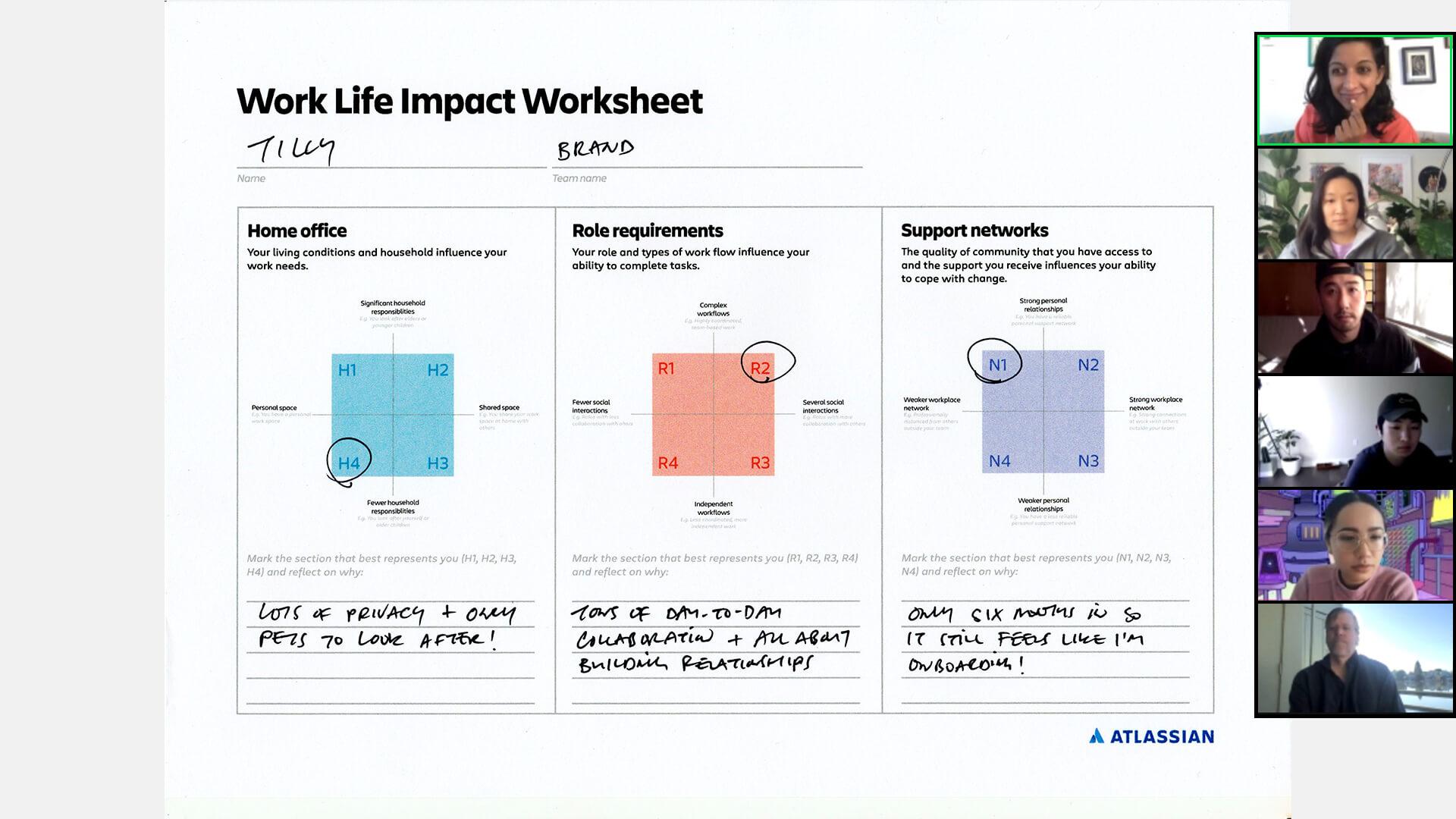 Teammitglieder besprechen das Arbeitsblatt zum Work-Life-Impact über Videochat