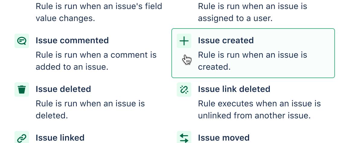Choosing issue created