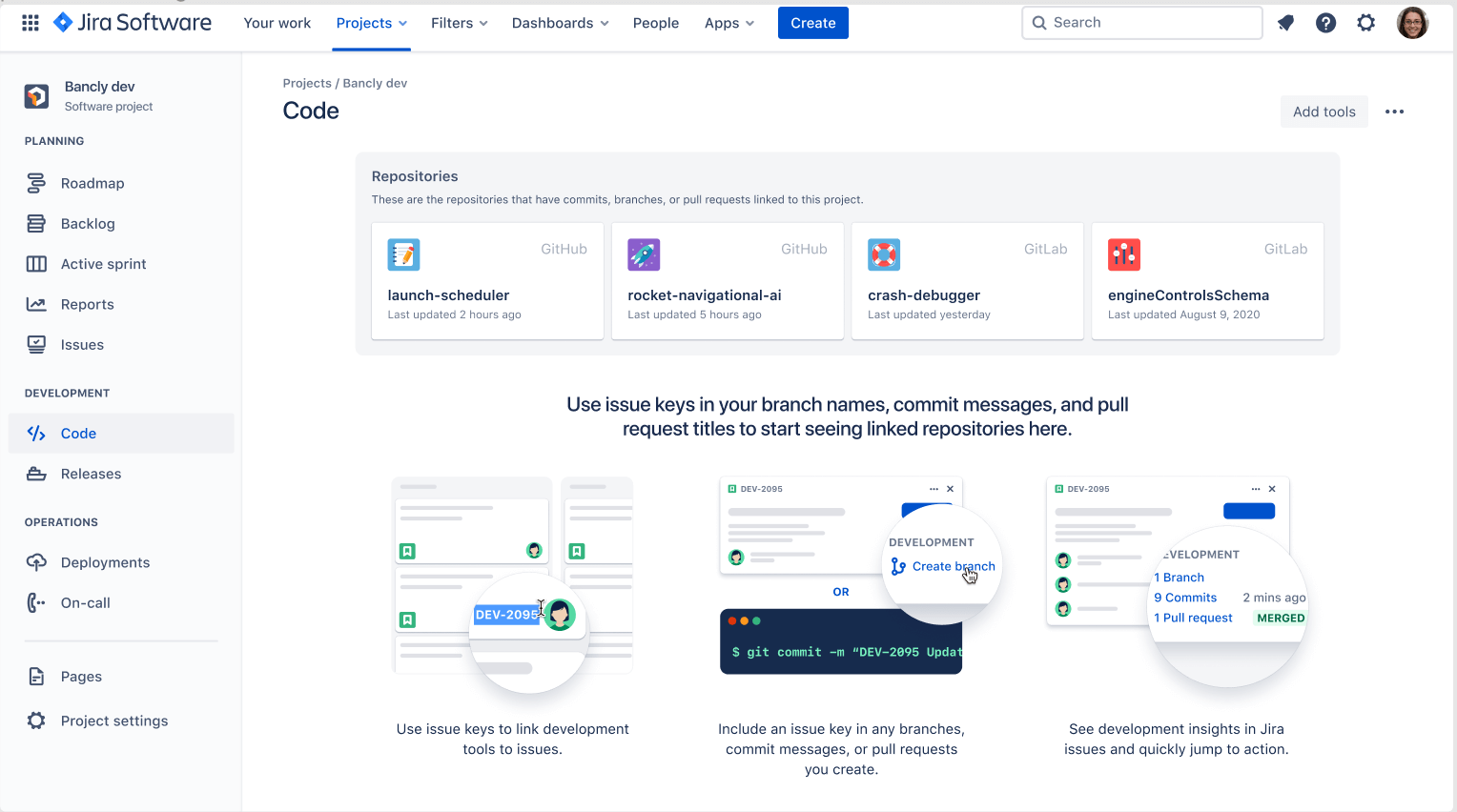 View linked repositories with Code in Jira view