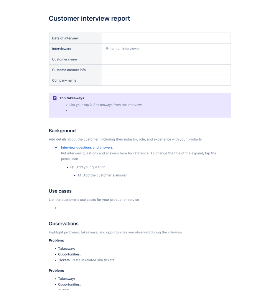 Customer Interview report template